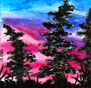 Watercolour snow covered pine trees in front of a blue to pink gradient