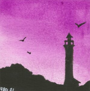 watercolour lighthouse silouette with purple gradient background