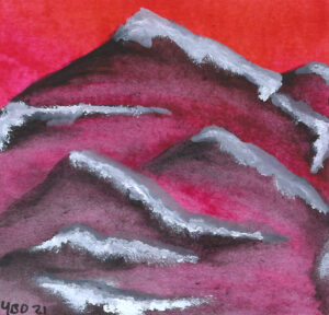 Watercolour mountains with snow peaks in front of a red-pink gradient