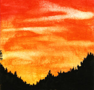 Watercolour pine trees on a mountain silouette with sunrise behind
