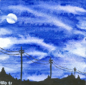 Watercolour blue sky with a white full moon and telephone wires